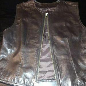 Brown soft leather zip vest